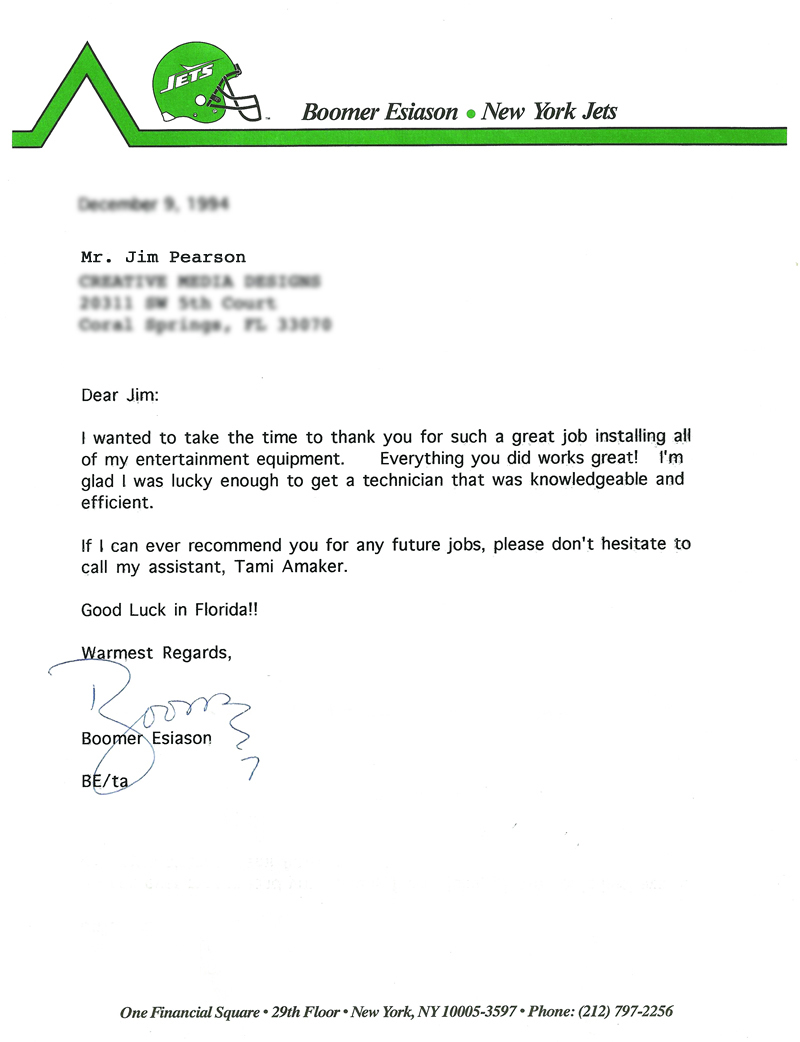Letter from Boomer Esiason of the New York Jets